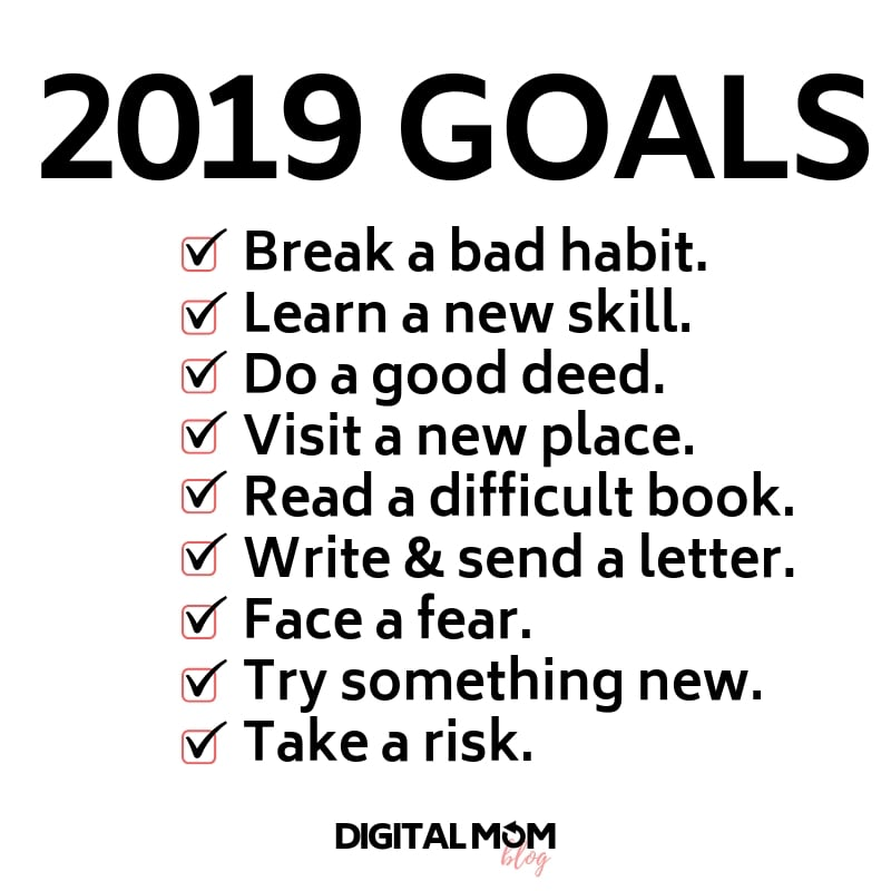 2019 goals and new years resolutions