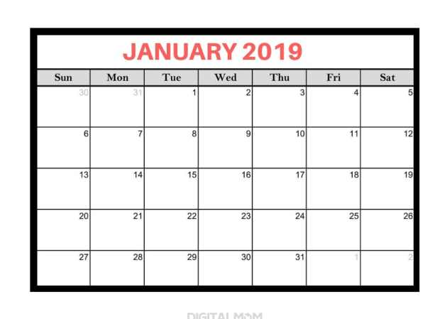 black and white january 2019 calendar