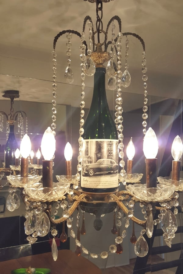 wine bottle chandelier - decatur tx daytrip
