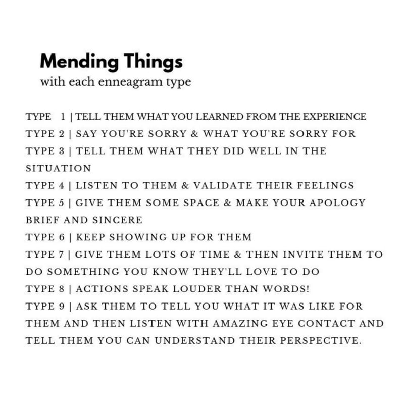 How to mend things - enneagram how to