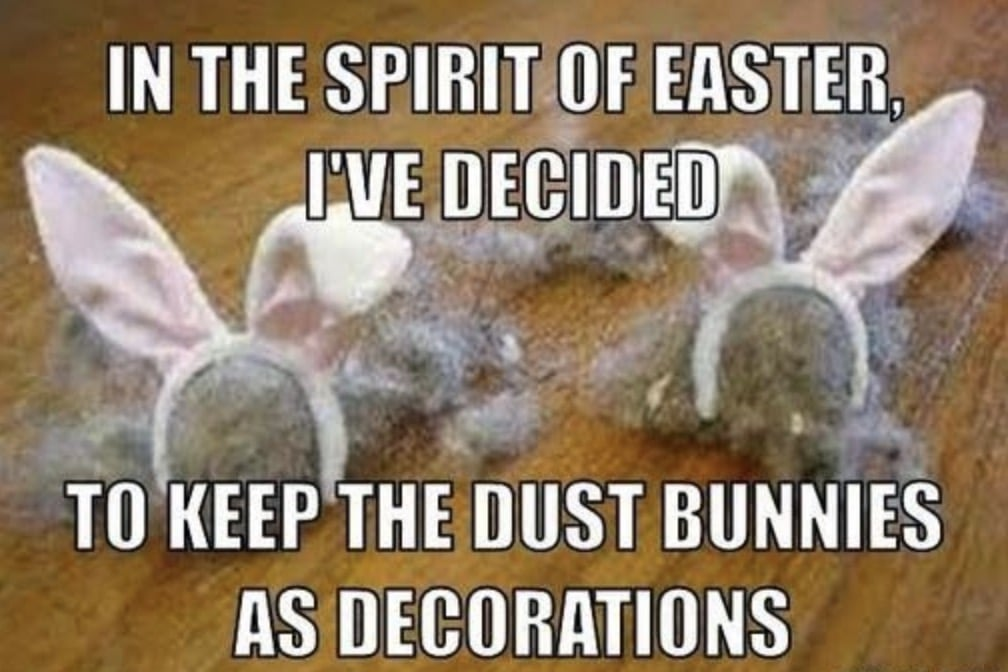 In the spirit of Easter, I've decided to keep the dust bunnies as decorations.