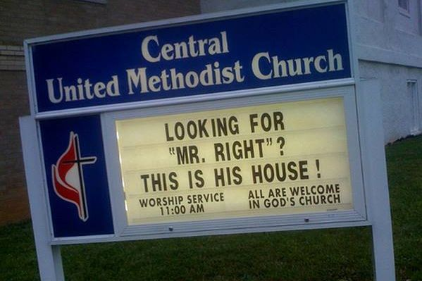 mr right church sign sayings