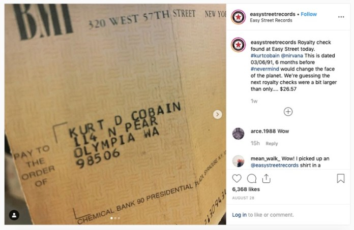 Record Store in Seattle Finds Kurt Cobain Royalty Check From