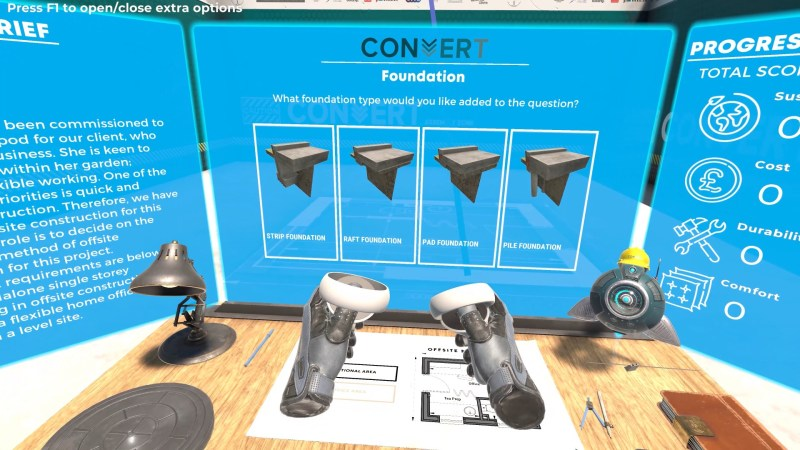 screencapture of CONVERT project in virtual reality simulation