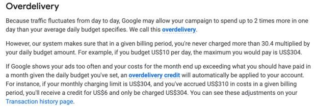 Google Ads overdelivery definition