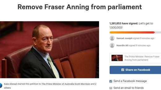 Over 1 Million People Signed Petition To Remove Fraser Anning BBC