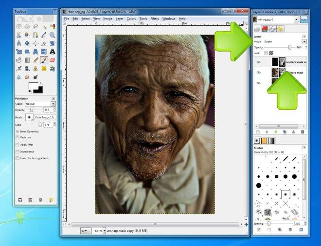 A photo of an elder man, loaded in GIMP