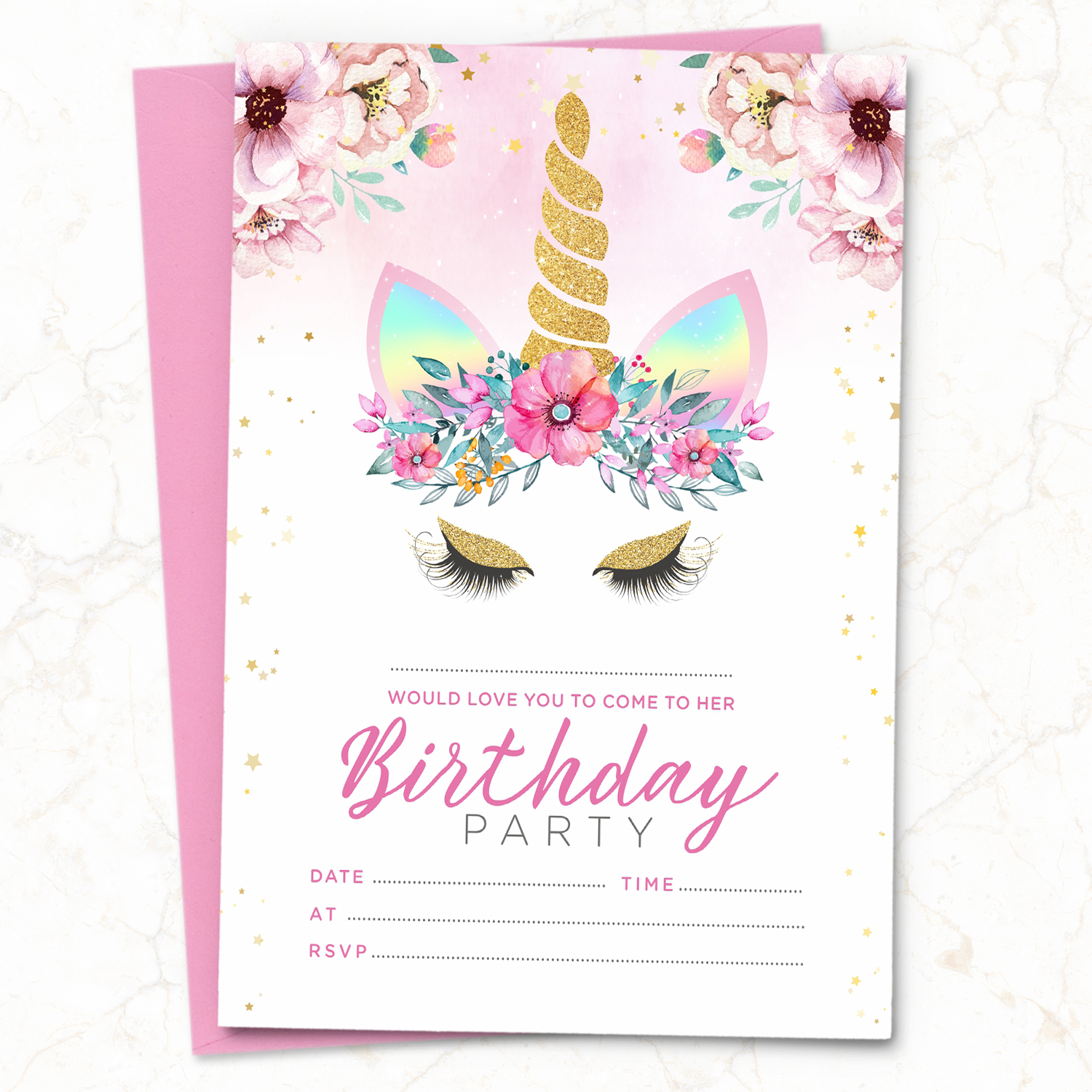 details about 10 x unicorn birthday party invitations invites girl children kids pack