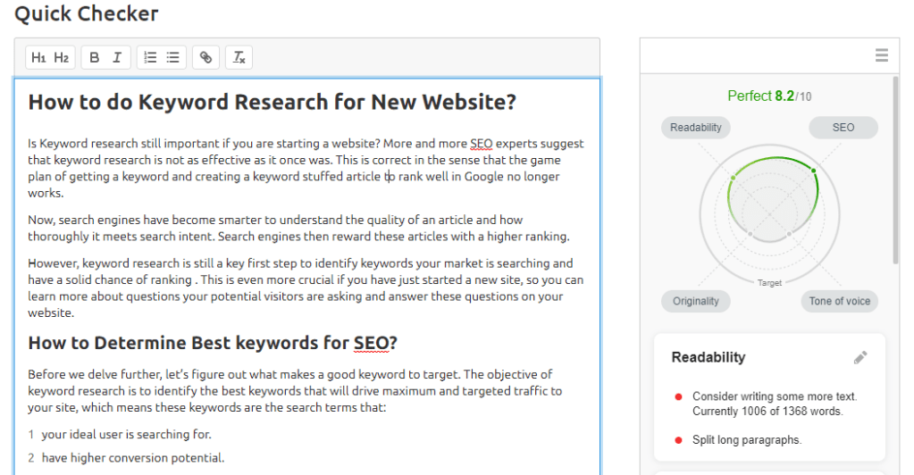 Rerun Writing Assistant - Updated SEO Quality Score
