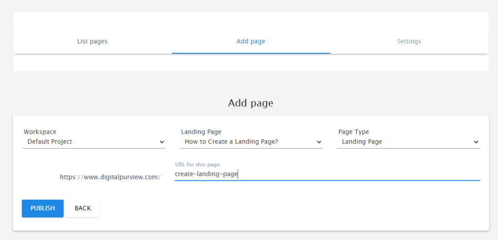 Instapage - WordPress plugin choose page
