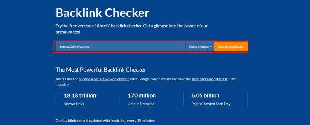 ahrefs online tool for backlink check