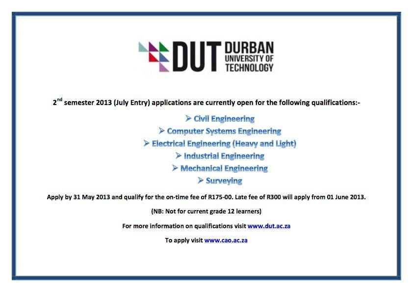 DUT's 2nd Semester courses