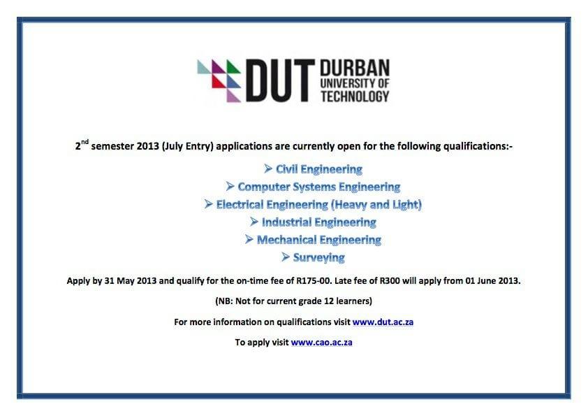 DUT's 2nd Semester courses