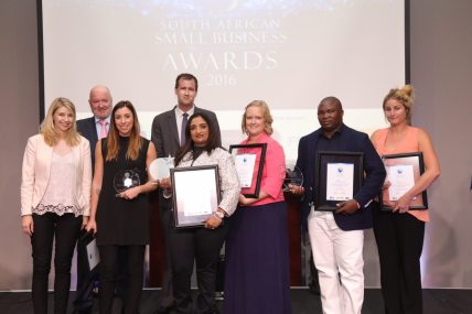NSBC Small Business Award winners with the sponsor representatives, winners from left: Roxanne Page (SassyChic); Vino Govender (LA Consulting Engineers); Juanita Van Der Merwe (Little Green Number); Calvin Mathibeli (Calvin And Family Group); Tameron Haralambous (Eco Furniture Design)