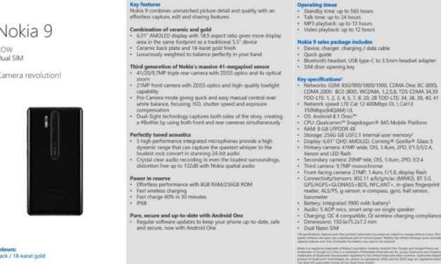 Nokia 9 Specification Leak Indicates Triple Camera Setup With 41-Megapixel Sensor