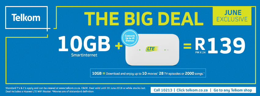 Telkom Unveils Its Big Deal For June 10gb Lte Data For