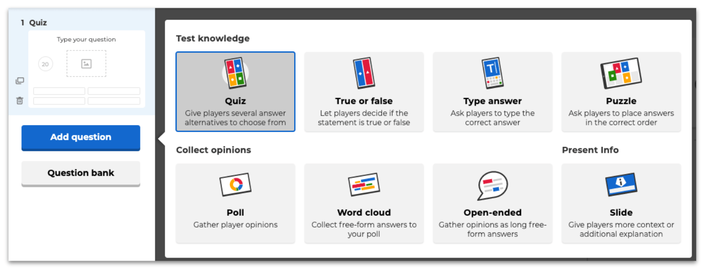 Kahoot question types