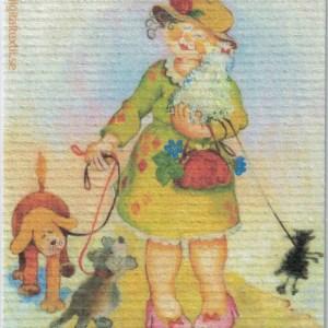 Disktrasa med motiv av Hundpromenad Birgitta Linderholm