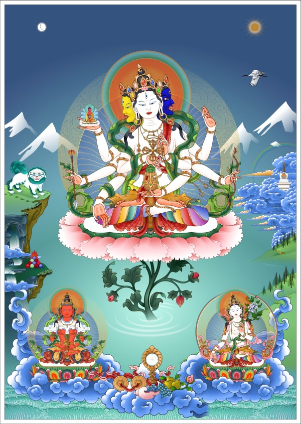 Namgyalma – three longevity deities