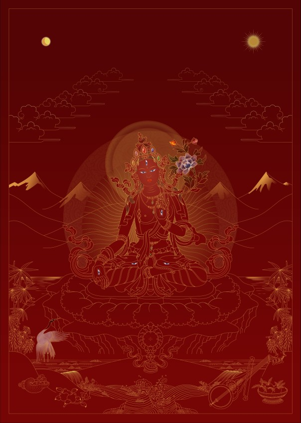 White Tara – Gold on Red