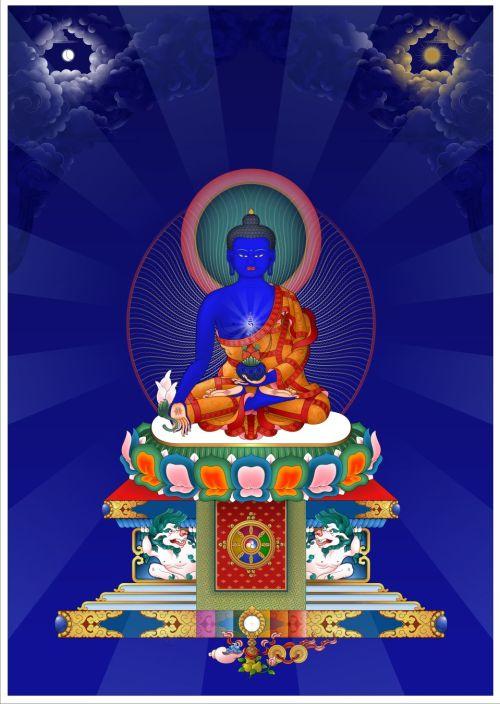 Medicine Buddha on Throne