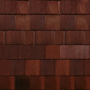 Cedar shake; 70 inch section of standard cedar shake shingles.