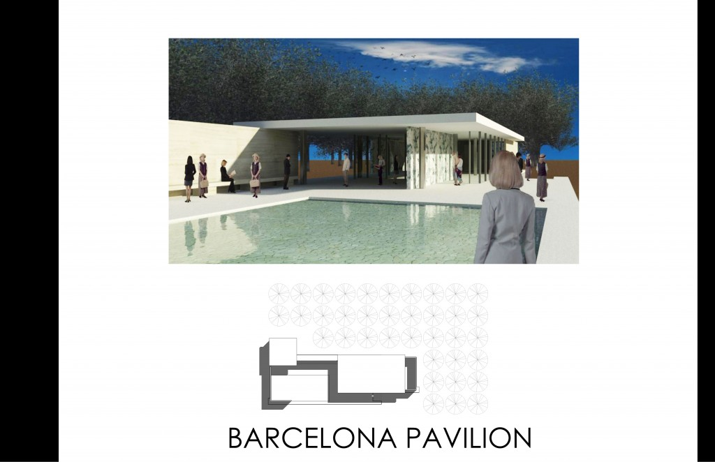 ASSIGNMENT 7 BARCELONA PAVILION RENDERING AND LINE PLAN