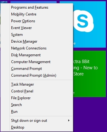 Shut down menu in Windows 8.1