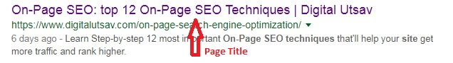 Page Title - On Page SEO