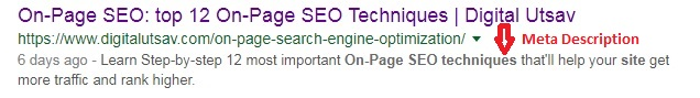 Meta Description - On-Page SEO