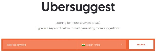 Ubersuggest - keyword suggestions tool