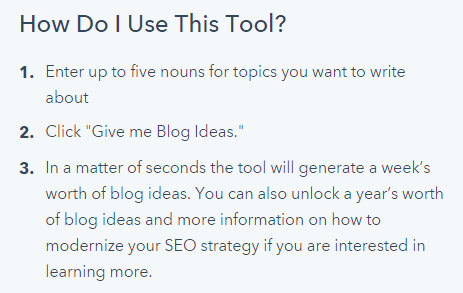 Hub spot's blog topic generator