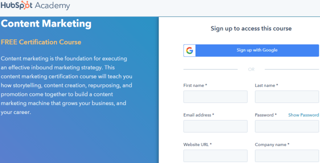 Content Marketing Certification Course - HubSpot Academy
