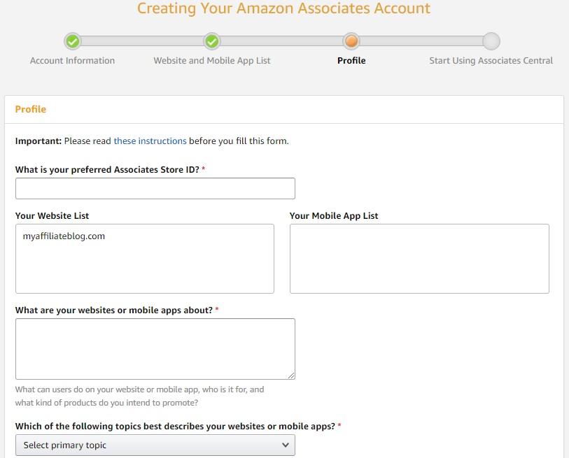 Création de votre compte Amazon Associates: profil