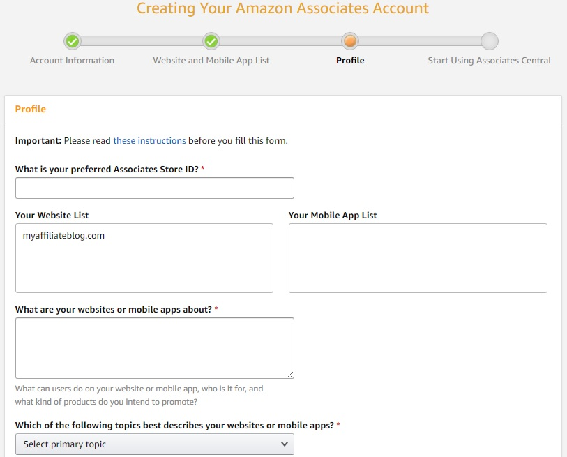 Creating Your Amazon Associates Account: Profile