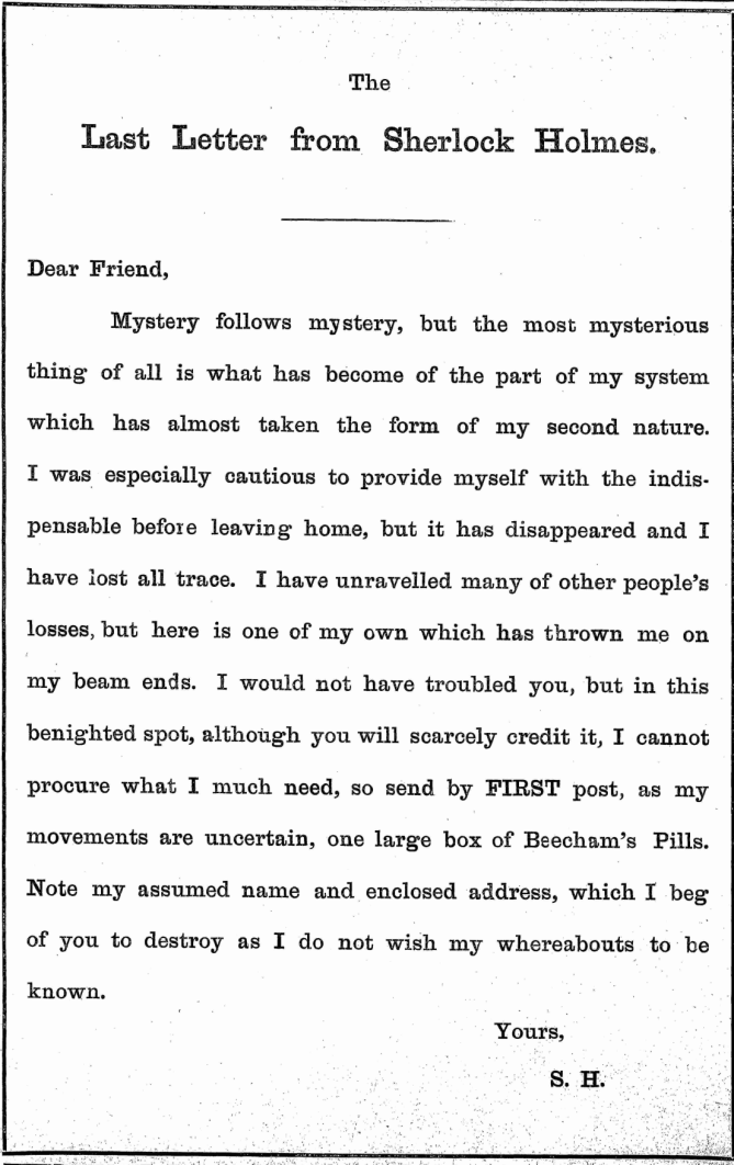 THE LAST LETTER FROM SHERLOCK HOLMES - The Fishing Gazette (London, England), Saturday, January 20, 1894