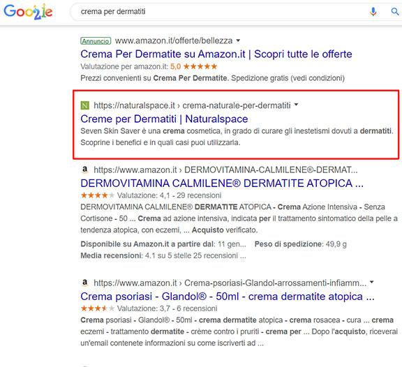 Posizionamento su Google del sito di cosmetici