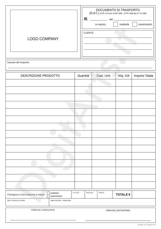 Documento di trasporto DDT DigitArts