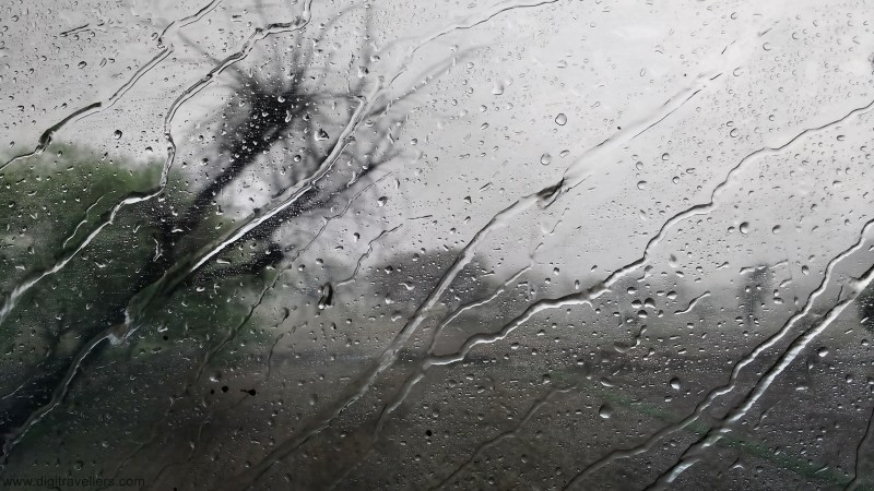 Rain Water Lines from the Glass Window of a Train | on the Way from Delhi to Jaipur