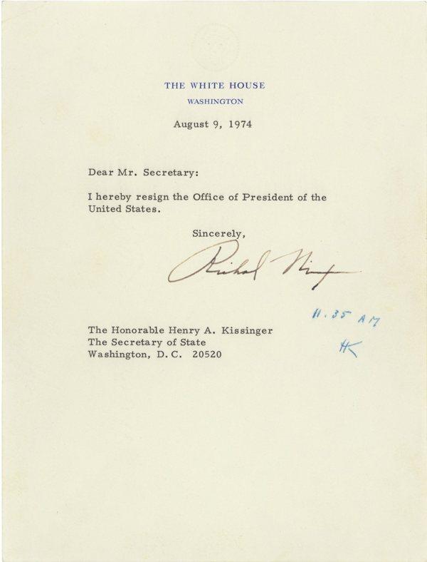 Nixon's resignation letter - Boing Boing