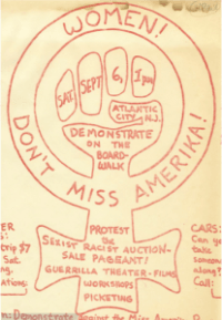 An excerpt from a digitized flier for the Miss America Protests, 1968-1969, in Atlantic City, New Jersey - part of the newly published Women's Liberation Movement Print Culture collection