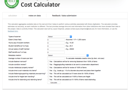Screen Shot of beta version of Digitization Cost Calculator