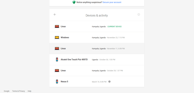 google device security dashboard