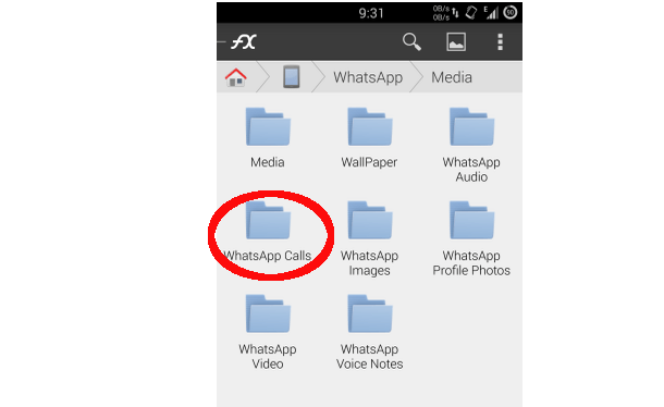 whatsapp voice calls folder