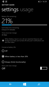 windows phone 8.1 battery saver