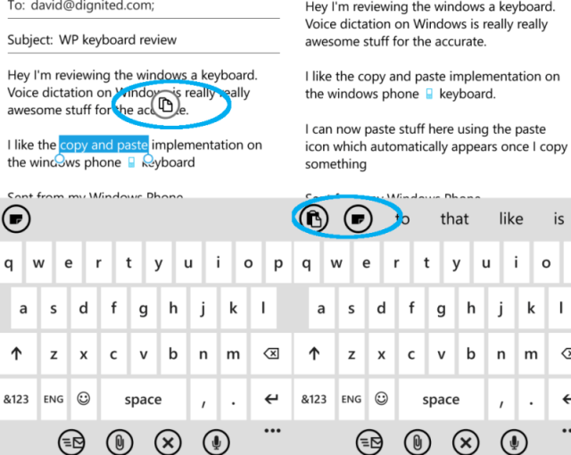 windows Phone keyboard copy and paste