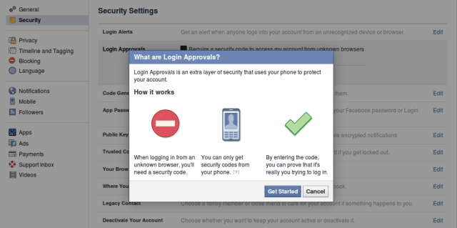facebook two step login
