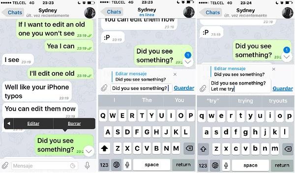 Telegram: edit sent messages