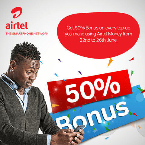 Airtel 50 percent bonus
