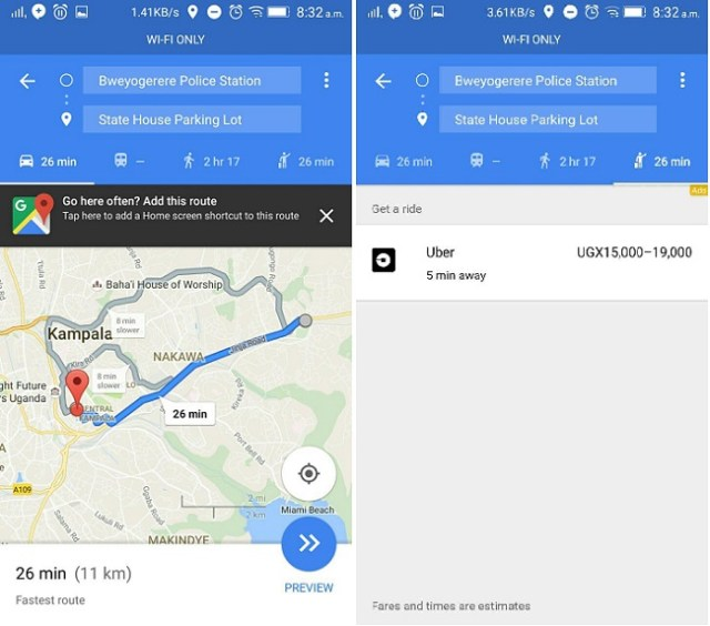Google Maps ride hailing service